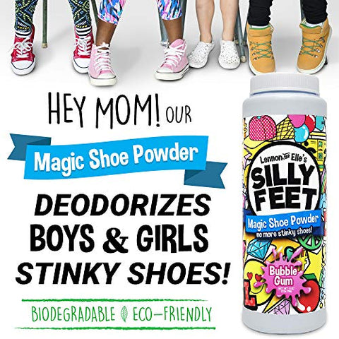 Magic Shoe Smell Powder - Foot Powder Shoe Odor Eliminator For Kids Smelly Feet - 8 oz Bubble Gum Scent
