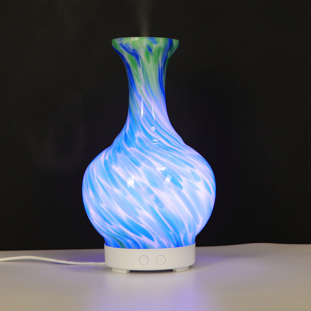 Aroma Diffuser Glass Vase Blue and Green