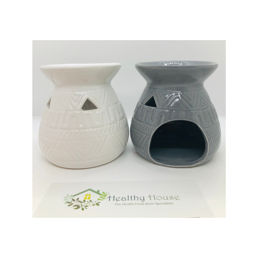 Ceramic Oil Burner With Waved Pattern (Grey or Cream)