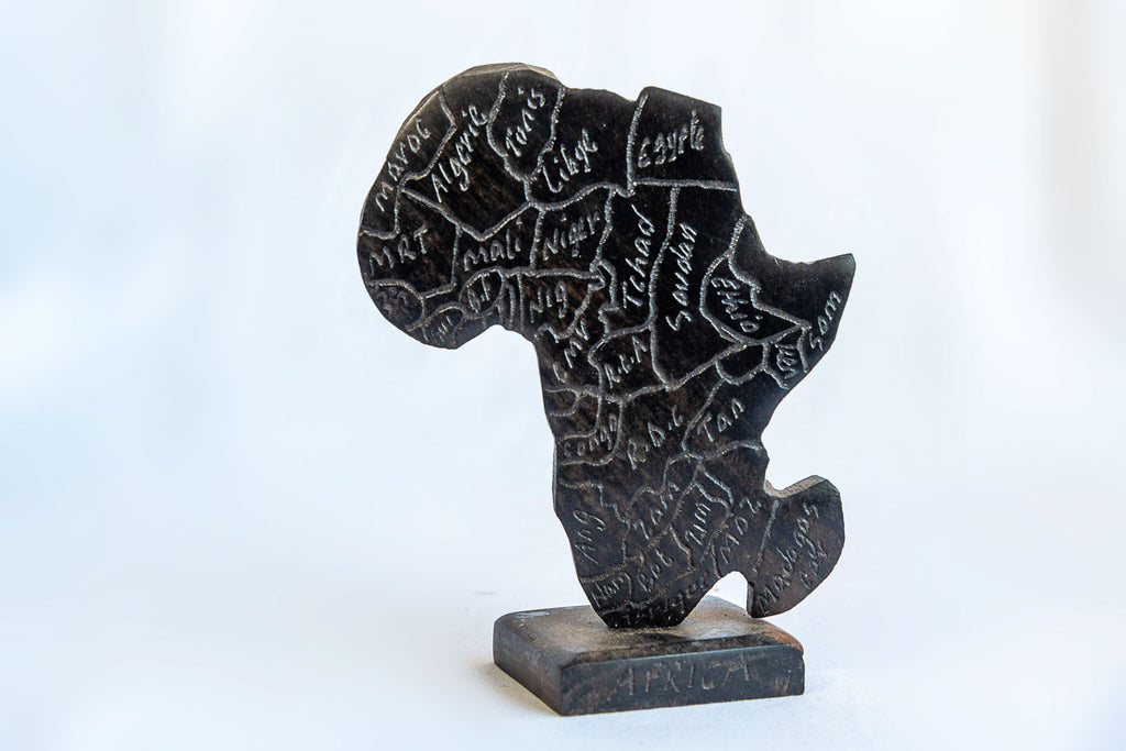 Ebony Wood Map of Africa - Pendza
