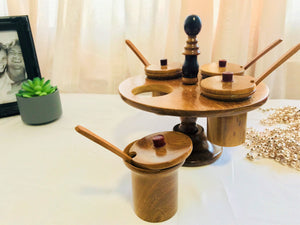 Wooden Rotating Condiment Holder- El Salvador - Pendza