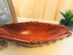 Dark Wood Bowl with Rope Edges - Cameroon - Pendza