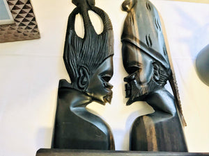 Handcarved Wooden Couple -  Cameroon - Pendza