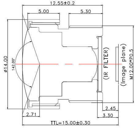 The Mechanical Diagram for a Wide Angle F/2.4 Lens