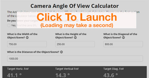 Camera Angle of View Calculator for M12 Lenses.