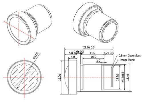 Mechanical drawing for a 2.8mm M12 Lens with Low Distortion