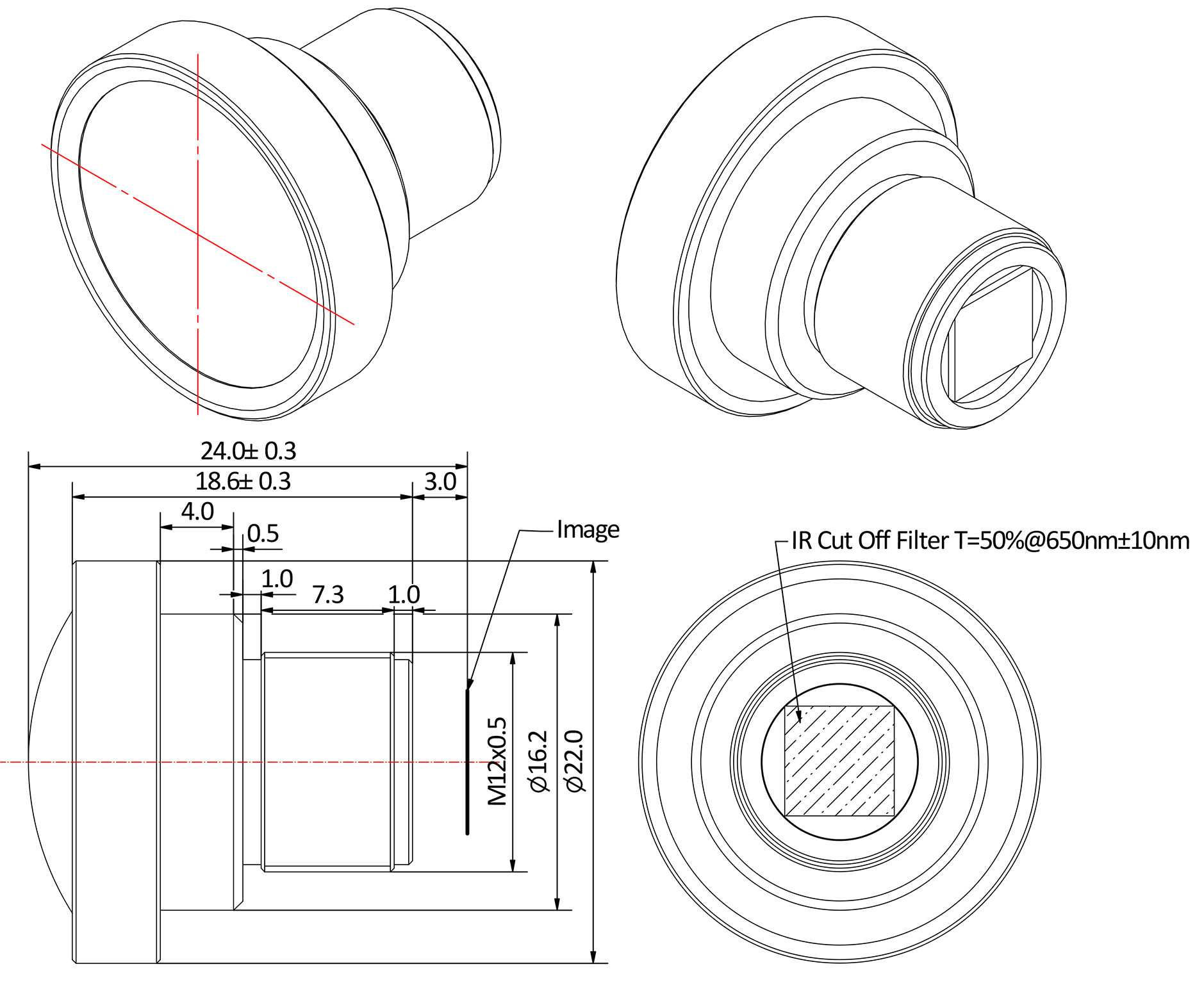 The Mechanical Diagram for a Wide Angle No Distortion F/1.8 Lens