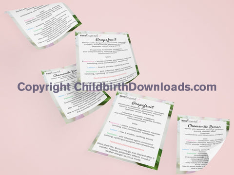 17 X Essential Oils For Pregnancy Birth And Postpartum Leaflets/ Handouts Digital File