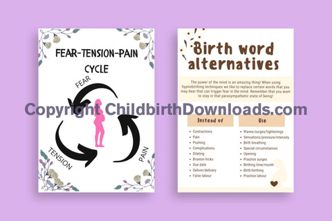 Birth Word Alternatives & Fear Tension Pain Handout Leaflet For Hypnobirthing Digital File