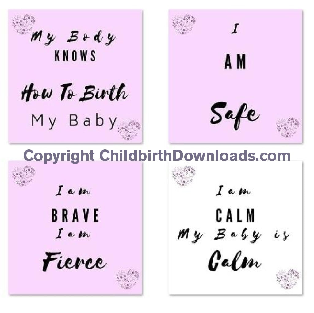 Labour & Birth Affirmation Cards Digital File