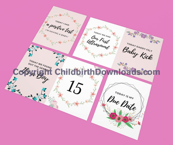 Set Of 51 X Pregnancy Week By Milestone Keepsake Cards Digital File
