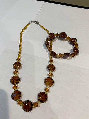Murano Glass Amber Necklace and Bracelet Set