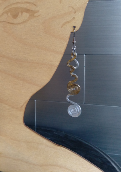 Handmade Two-tone Aluminum Large Squiggle Earrings