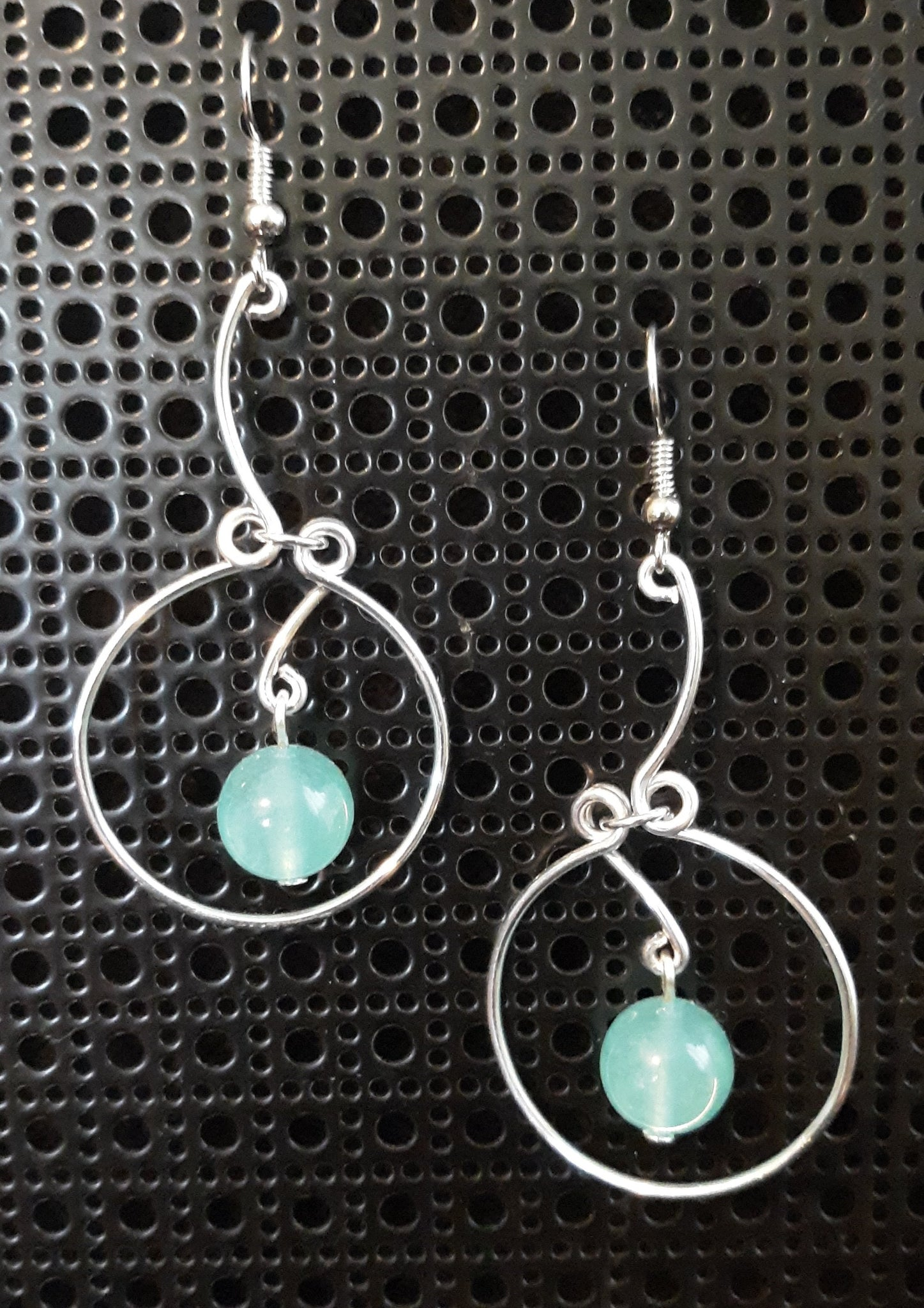 Handmade Aluminum Earrings with Aqua Gemstone Bead