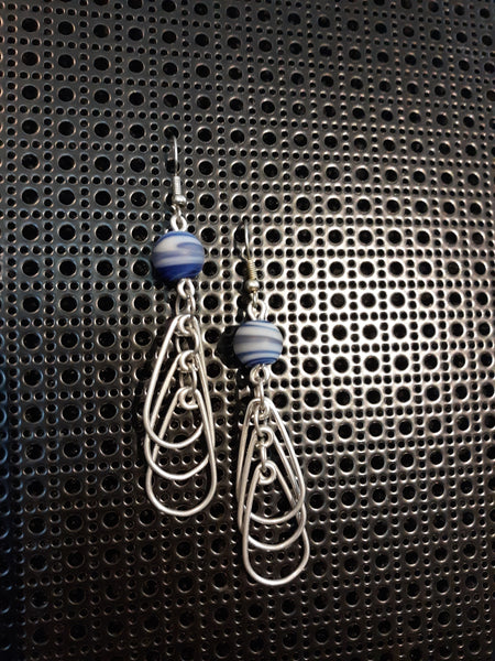 Handmade Aluminum Earrings with Blue/White Glass Bead