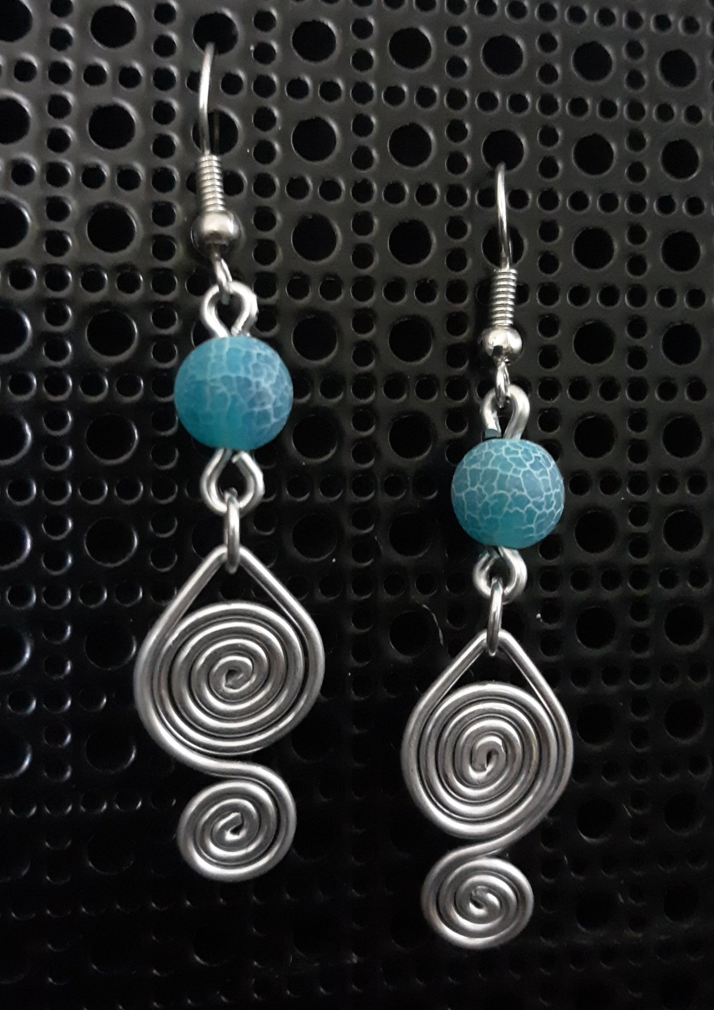 Handmade Aluminum Earrings with Blue Stone Bead