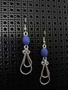 Handmade Aluminum Earrings with Blue Glass Bead