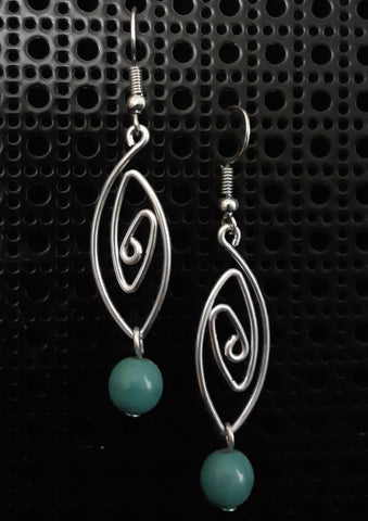 Handmade Aluminum Earrings with Blue Ceramic Bead