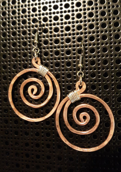 Handmade Rose Aluminum Hammered Swirl Earrings