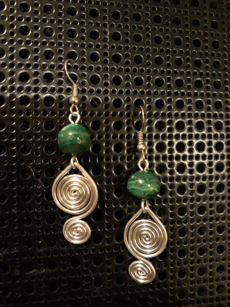 Handmade Aluminum Earrings with Malachite Beads