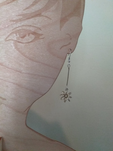 Handmade Gold Aluminum Long Flower Earrings