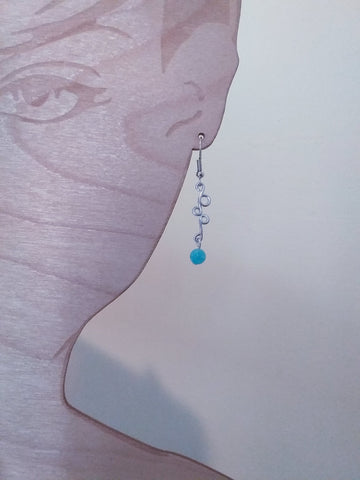 Handmade Aluminum Earrings with Blue Bead