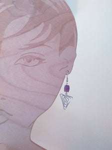 Handmade Aluminum Earrings with Amethyst Beads