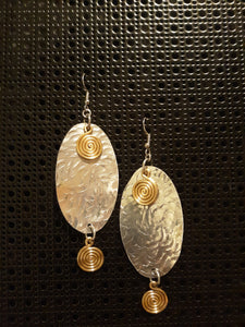 Handmade Two-tone Aluminum Hammered Oval Earrings