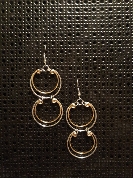 Handmade Two-tone Aluminum Double Circles Earrings