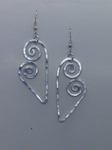 Handmade Aluminum Hammered Heart Earrings
