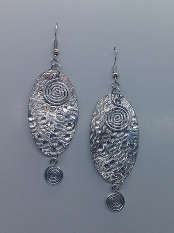 Handmade Aluminum Hammered Oval Earrings