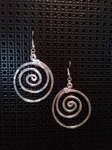 Handmade Aluminum Hammered Swirl Earrings