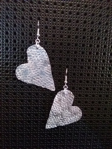 Handmade Aluminium Hammered Heart Earrings