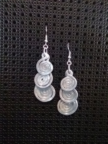Handmade Aluminum Hammered Triple Swirl Earrings
