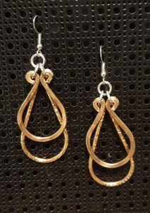Handmade Gold Aluminum Medium Hammered Double Teardrops