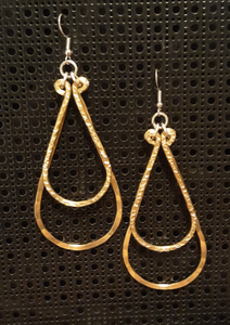 Handmade Gold Aluminum Large Hammered Double Teardrop Earrings