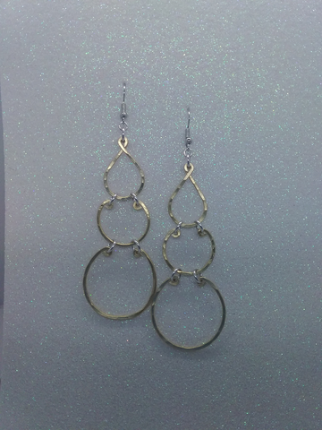 Handmade Gold Aluminum Hammered Earrings Large