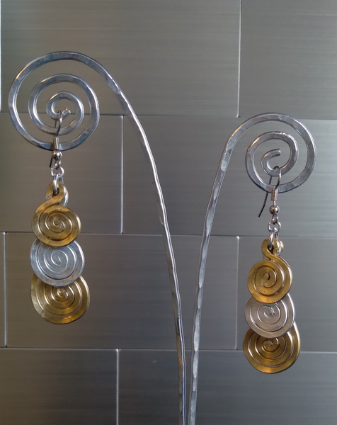 Handmade Two-Tone Aluminum Earrings