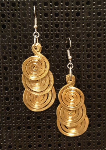 Handmade Gold Aluminum Large Hammered Triple Swirl Earrings