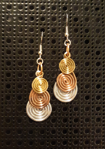 Handmade Tri-Color Aluminum Swirl Earrings SOLD- MORE ON THE WAY!!