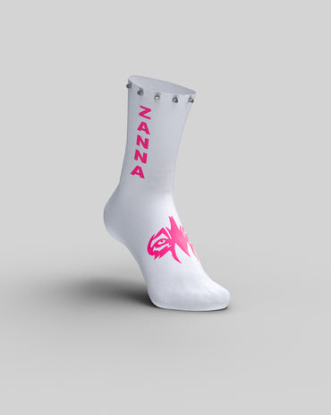 "White & Pink | ""Studded"" Sock - ZANNA"