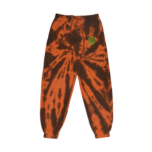 Joggers in orange and black tie dye