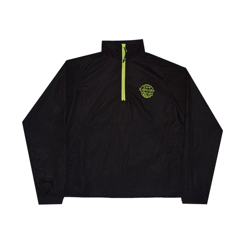 Nylon Jacket in Black with Neon Half Zip