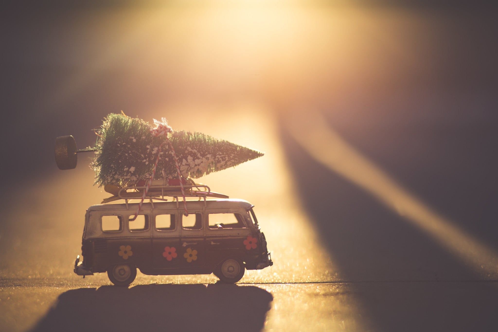 Surfer van with a christmas tree on the roof