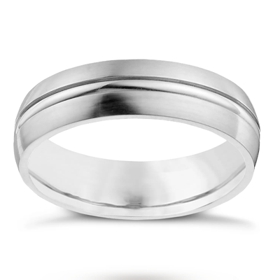 18CT White Gold Men Wedding Band