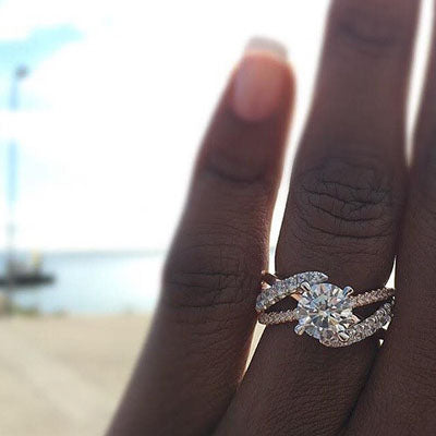 Detailed Diamond Engagement Ring