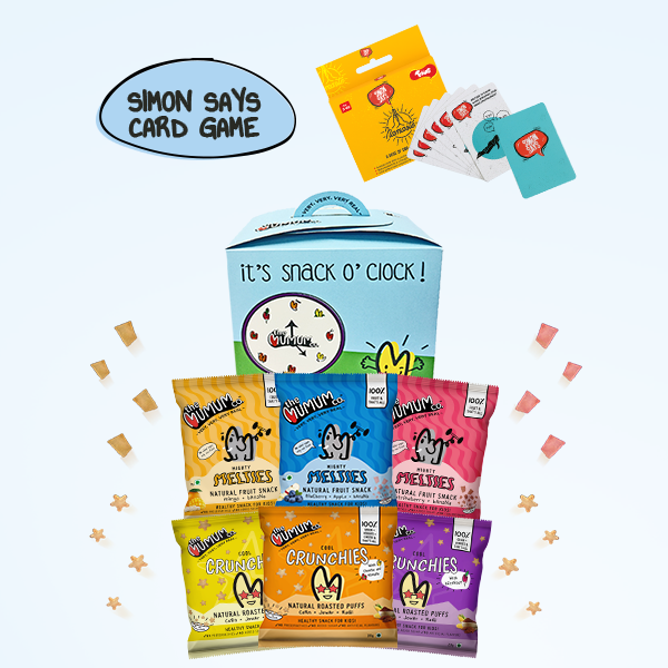 Snack O' Clock Hamper with Toiing Simon Says Party Card Games
