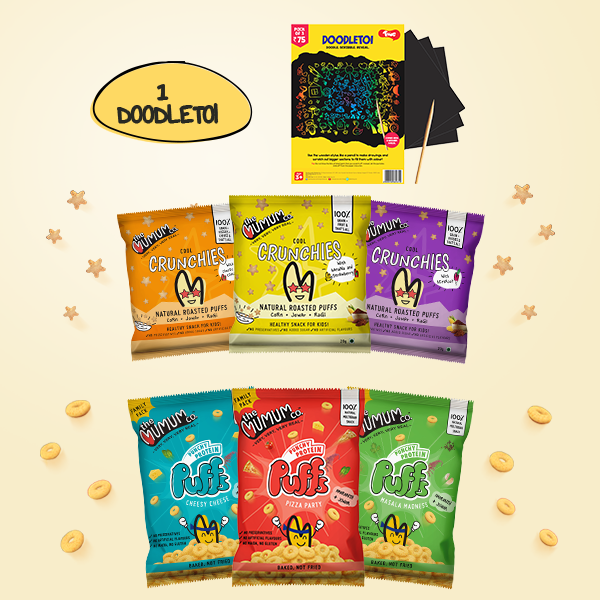Crunchies and Protein Puffs Combo Pack of 6 with Toiing DoodleToi