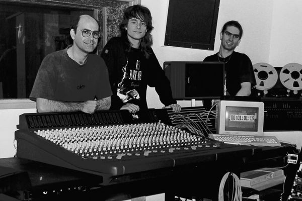 Photo: Joe Panetta (owner of Red Zeds studios), Jeff Lovejoy (renowned Brisbane producer/engineer) and a young Magoo (probably late 1994 or early 1995)