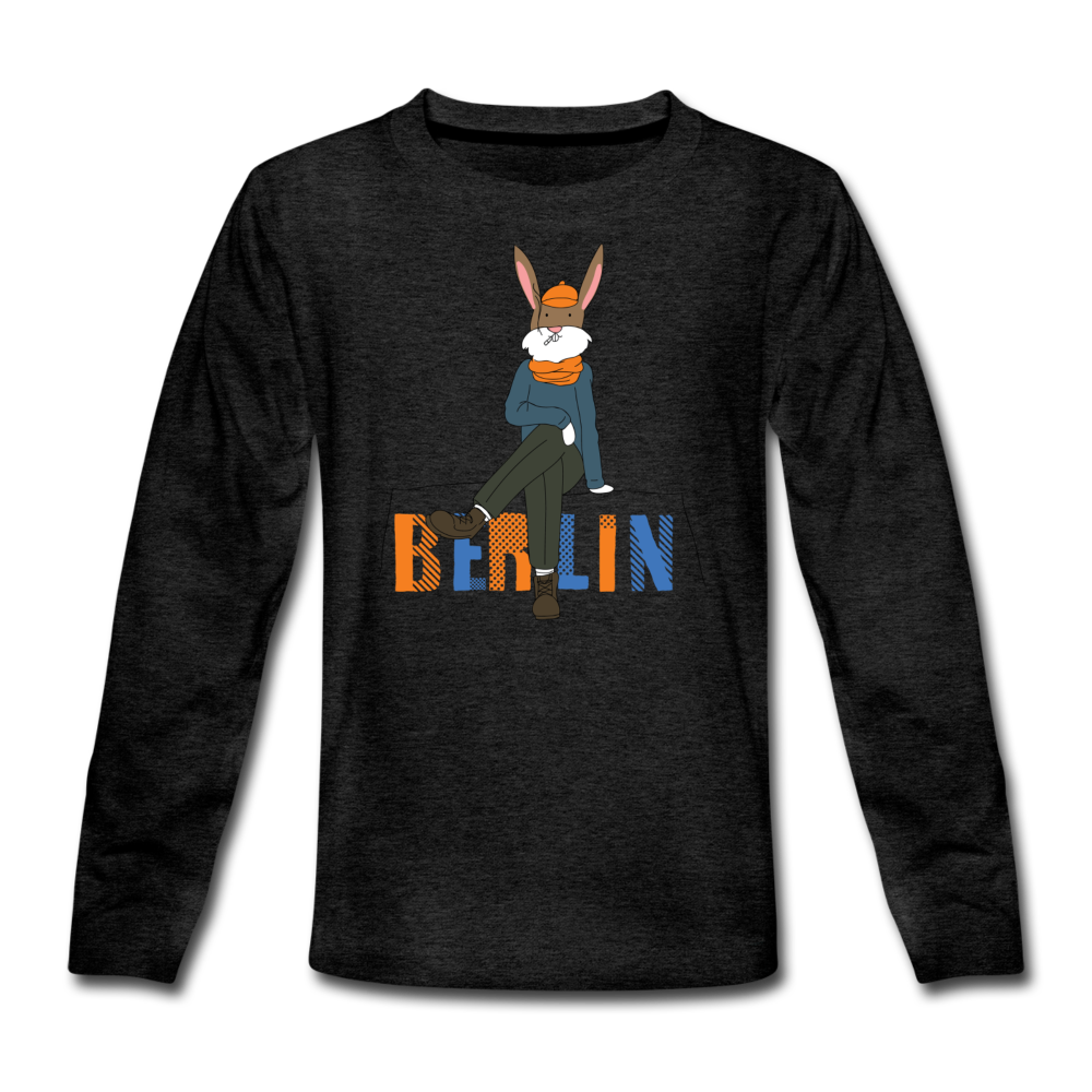 Berliner Hipster - Teenager Langarmshirt - Anthrazit